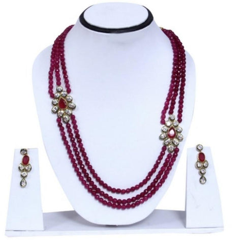 Designer Traditional Maroon and Ruby Studded Multilayered Necklace & Earring Set - My Aashis