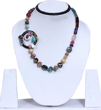 Multicolor Clustered Flower Snail Shaped Bib Necklace - My Aashis