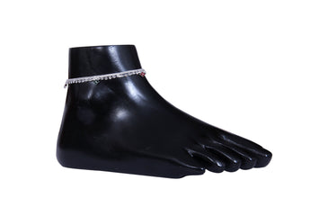 Designer Red and German Silver Anklets - My Aashis