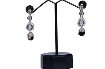 Cute and Fancy Gold-Tone Magical Black Simulated Pearls Snow White Dangling Earrings - My Aashis