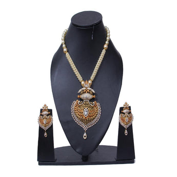 Exclusive Pearl Beaded Gold Plated Necklace Set - My Aashis