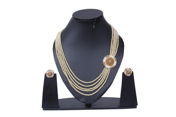 Ethnic Gold Plated With Pearl Traditional Indian Necklace Set with Earrings