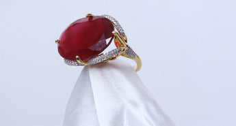 Cocktail Oval Shape Rose Red Zircon Fashionable Rings For Women Gold Tone CZ Size 7,6