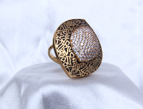 Adjustable Matt Gold Tone Cocktail  Fashionable Rings For Women - My Aashis