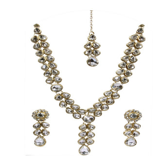Gold-Plated CZ Stone-Studded Jewellery Set with maang-tika
