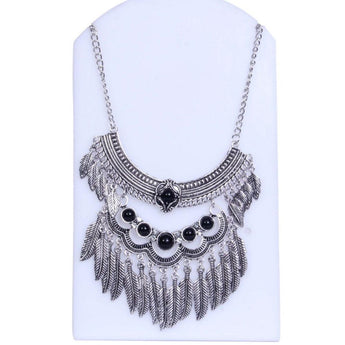 Antique Silver-Toned With Black Stone Layered Necklace - My Aashis