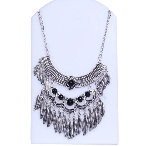Antique Silver-Toned With Black Stone Layered Necklace