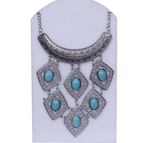 Turquoise Blue and Silver toned Tiered Necklace