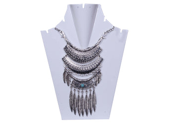 Antique Silver-Toned & Layered Necklace with Turquoise stone