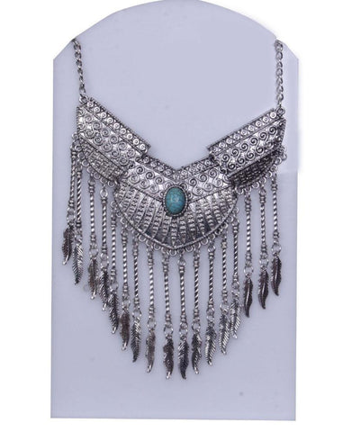 Silver-Toned & Turquoise Stone-Studded Statement Necklace - My Aashis