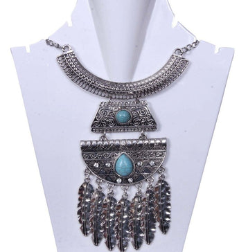 Antique Multilayered Silver toned with Turquoise stone Necklace - My Aashis