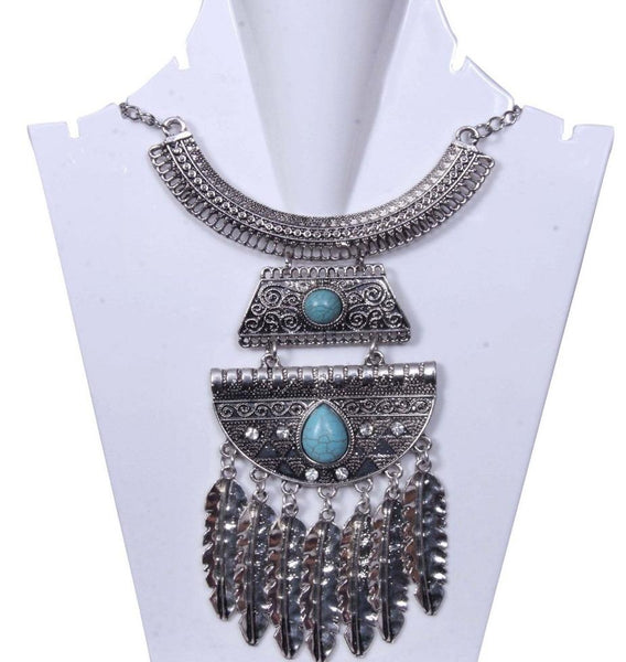 Antique Multilayered Silver toned with Turquoise stone Necklace