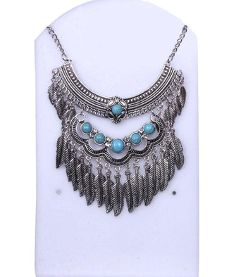 Antique Silver-Toned With Turquoise blue Stone Layered Necklace - My Aashis