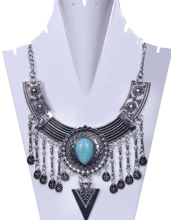 Turquoise Coral Stone-Studded Inter-Linked Statement Necklace - My Aashis