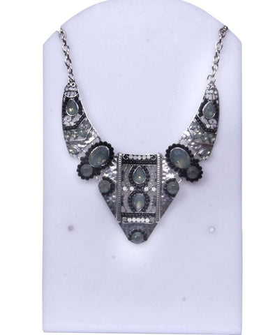 Canvas And Metal Fringe bib Necklace Set