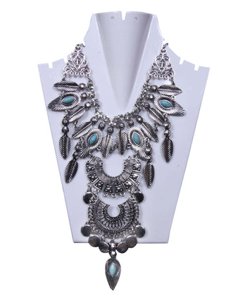 Antique Silver Multilayered toned with Turquoise stone Necklace - My Aashis