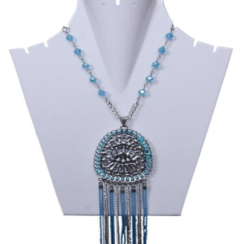 Infuzze Turquoise Blue Beaded Statement Necklace - My Aashis