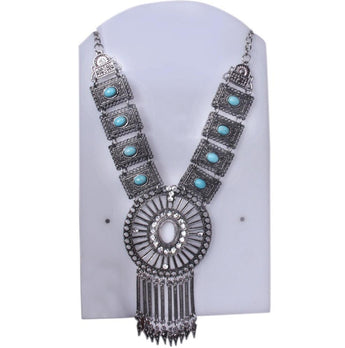 Antique Silver Plated Black Blue Statement Necklace With crystal - My Aashis