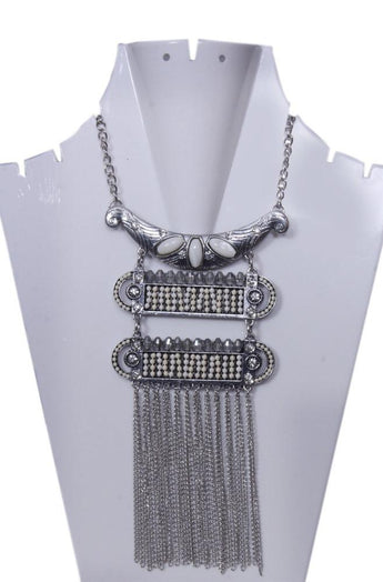 Antique Silver-Toned With White Stone and beaded Layered Necklace