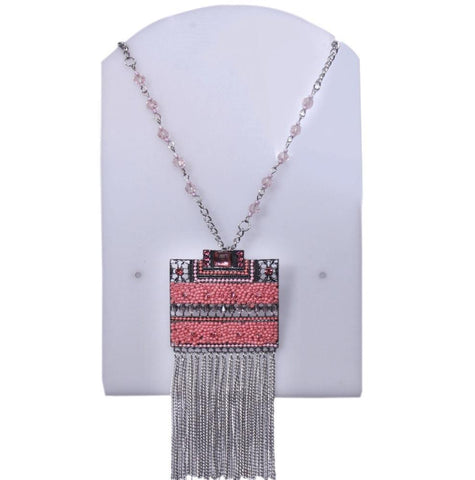 Square Shaped Pink Beaded Chain - My Aashis