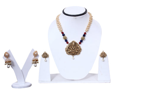 Traditional Necklace Ganpati Pendant Set - My Aashis