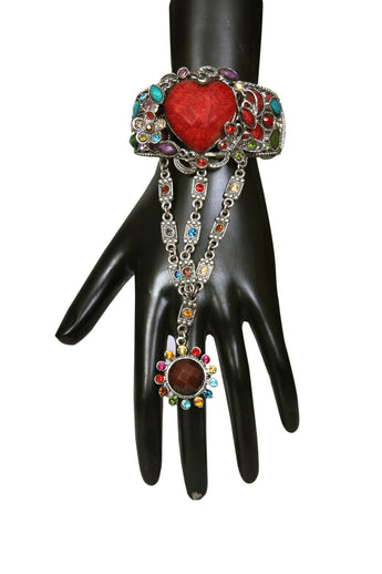 Alluring Design Multi Color Stone Studded Drop Finger Ring Bracelets - My Aashis