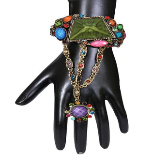 Alluring Design Multi Color Stone Studded Drop Finger Ring Openable Bracelets - My Aashis