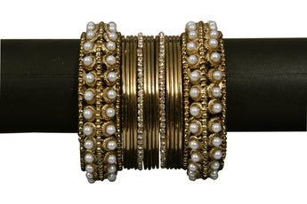 Indian Gold- tone Pearl and White Stone Bangles - My Aashis