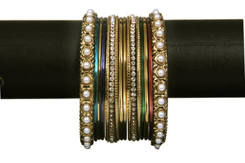 Multi Color Bangles with Pearl and Zarcon - My Aashis