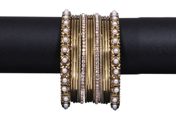 Indian Gold tone Pearl Bangles