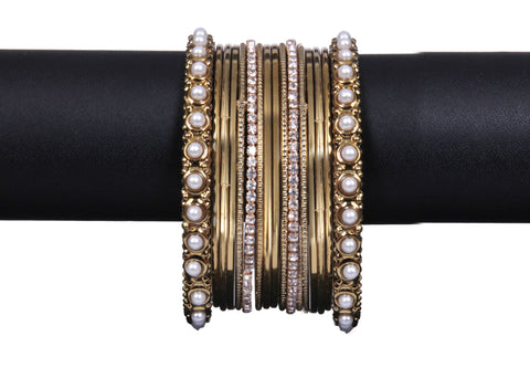 Indian Gold tone Pearl Bangles - My Aashis