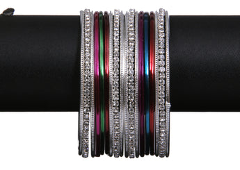 Silver Tone Stone Bangles with Multi Color Plain Bangles - My Aashis