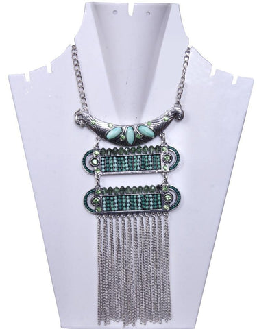 Antique Silver-Toned With Blue Stone and beaded Layered Necklace