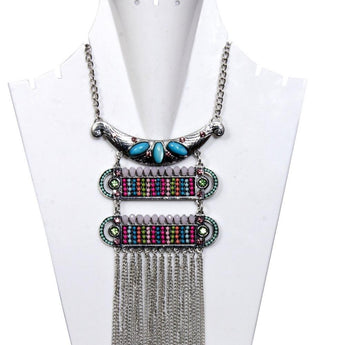 Antique Silver-Toned With Blue Stone and  Multi-colored beaded Layered Necklace