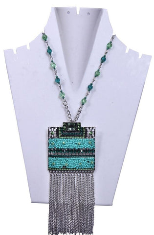 Square Shaped Turquoise Beaded Chain - My Aashis