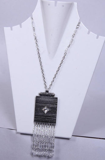 Vintage Style Square Shaped Black Necklace - My Aashis