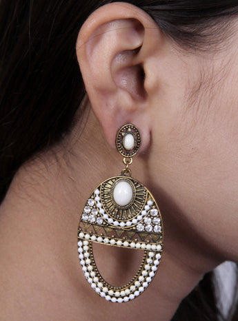 Oxidised brass with white beads and Zarcon  earrings - My Aashis