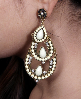 Womens Vintage Teardrop Crystal Chandelier Dangle Pierced Earrings - My Aashis