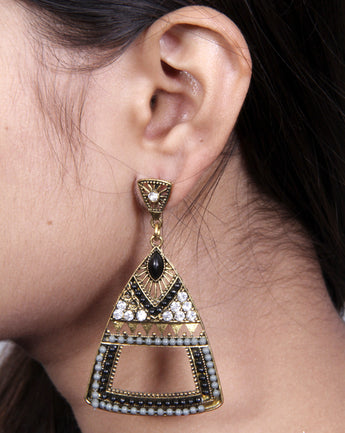 Womens Vintage Teardrop Crystal Dangle Pierced Earrings - My Aashis