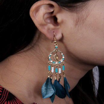 Fashionable and Trendy Designed Drop Hook Feather Earrings - My Aashis