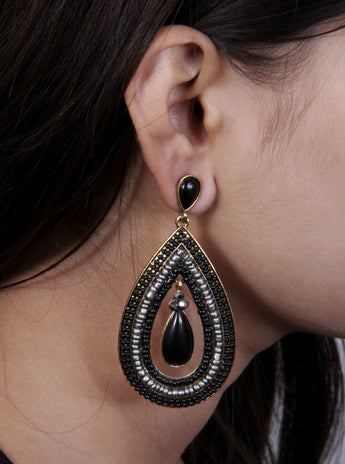 Womens Vintage Teardrop Crystal and Black Stone Dangle Pierced Earrings - My Aashis