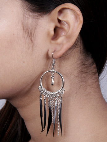 Trendy Fashion Jewelery Leaf Dangle Hoop Earrings - My Aashis