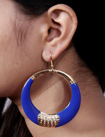 Gold Antique Plated Bronze Blue Lapiz Stone Circular Dangle Earrings - My Aashis
