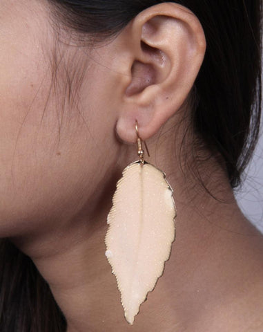 Gold Leaf Design Druzy Look hoop Earrings