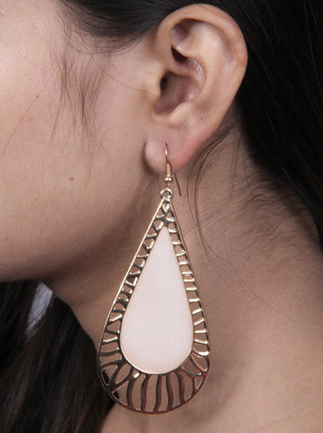 Ethnic Antique Gold plated White Beaded Large Hallow out Long Earrings