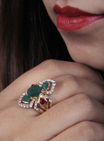 Beautiful American Diamond and Emerald Stone fashion finger ring for women - My Aashis