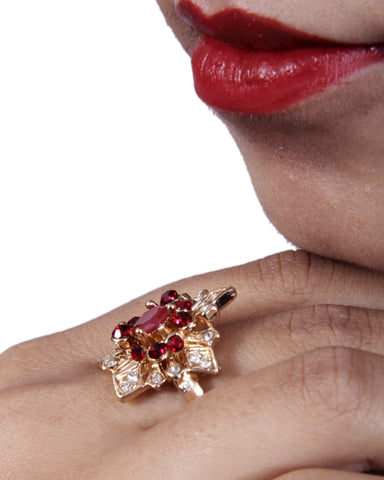Gold-Tone Adjustable Designer Ad Ring with Different Stone and Carnelian Stone