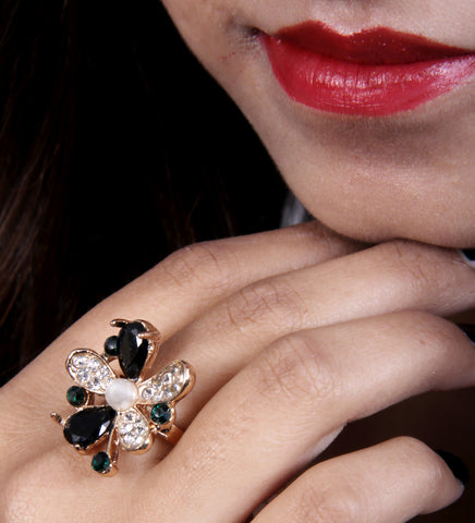 Multigemstone Floral Cocktail Ring - My Aashis