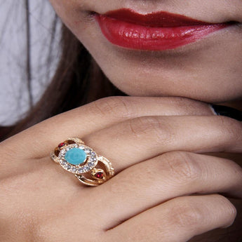 Adjustable Three Stone Ring Crafted With Gold Plated - My Aashis