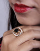 Designer Ad Ring with Black Stone